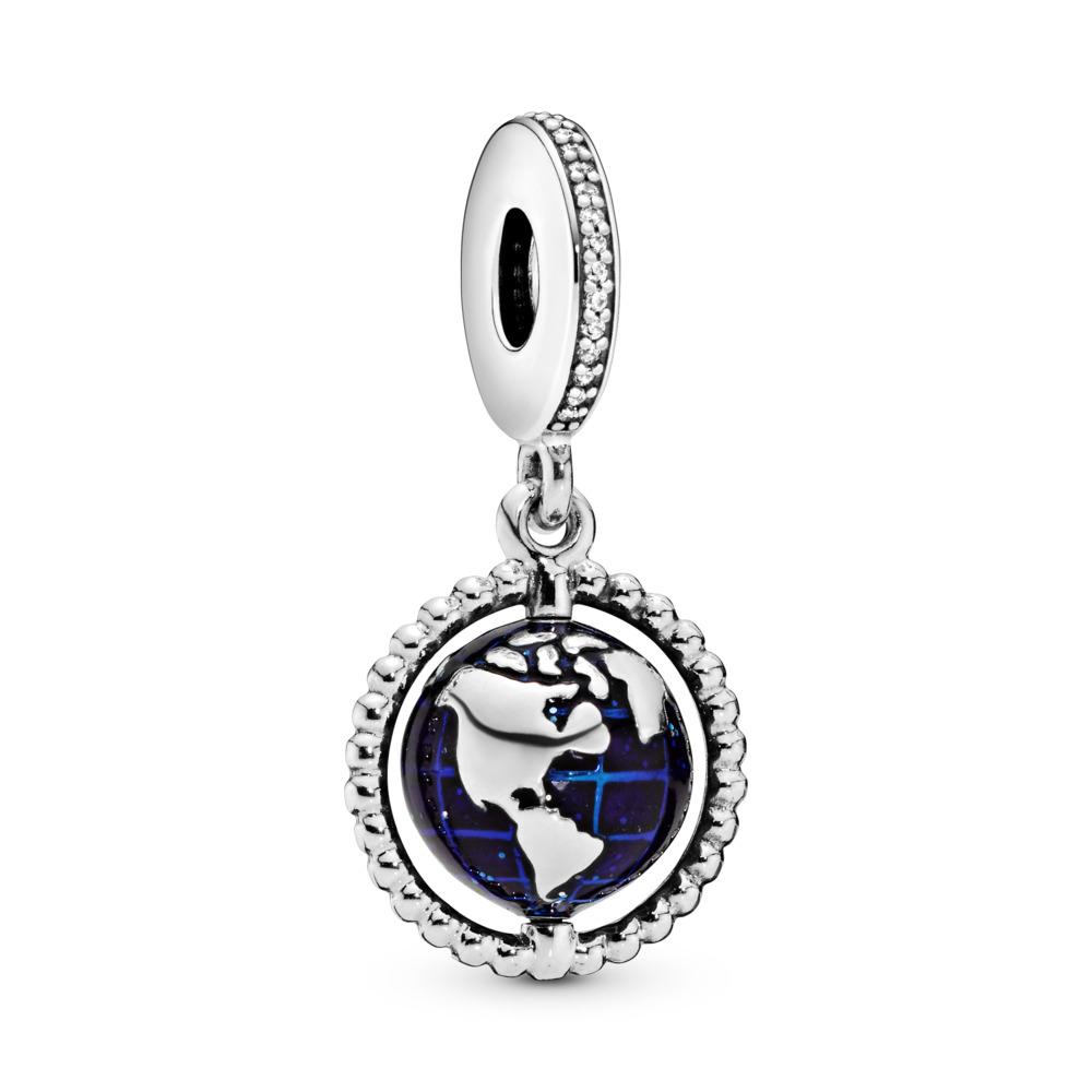 Charm-pendentif Globe tournoyant, Argent sterling, émail, Bleu, Zircon cubique - PANDORA - #798021CZ