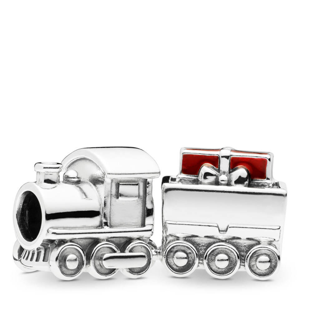 Christmas Train Charm, Sterling silver, Enamel, Red - PANDORA - #797519EN27