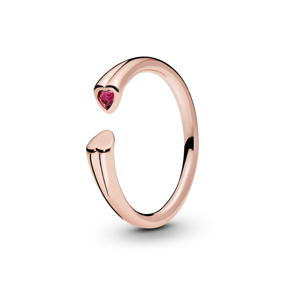Two Hearts Ring, PANDORA Rose™ & Red CZ, PANDORA Rose, Red, Cubic Zirconia - PANDORA - #186570CZR