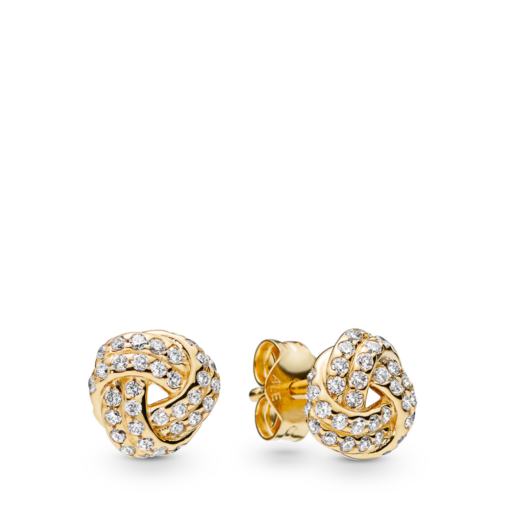 Sparkling Love Knots Stud Earrings, 18ct gold-plated sterling silver, Cubic Zirconia - PANDORA - #260696CZ