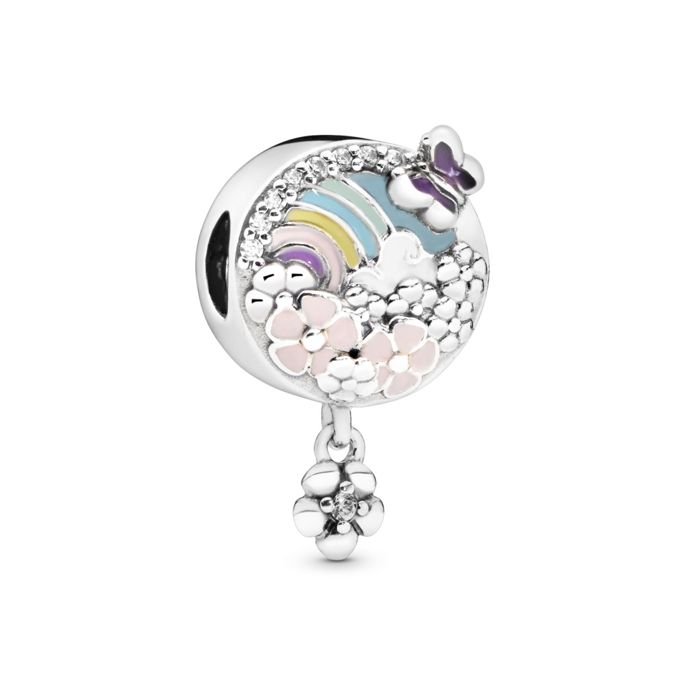 Flower Colour Story Charm, Sterling silver, Enamel, Blue, Cubic Zirconia - PANDORA - #797999ENMX
