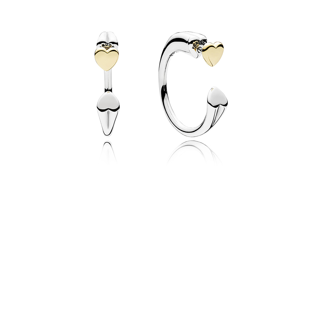 Two Hearts Hoop Earrings