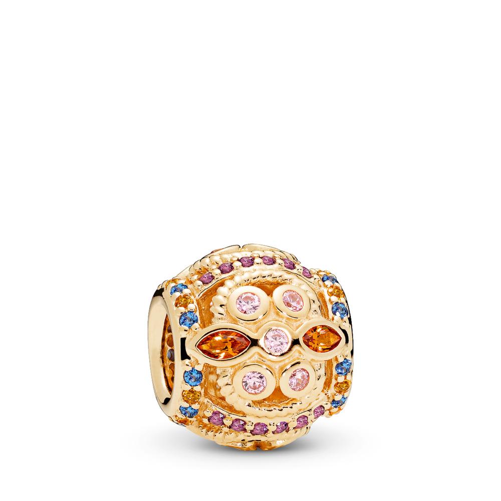 Colour Fresco Charm, 14K Gold & Multi-Coloured Crystals & Pink CZ, Yellow Gold 14 k, Blue, Mixed stones - PANDORA - #756225PCZMX