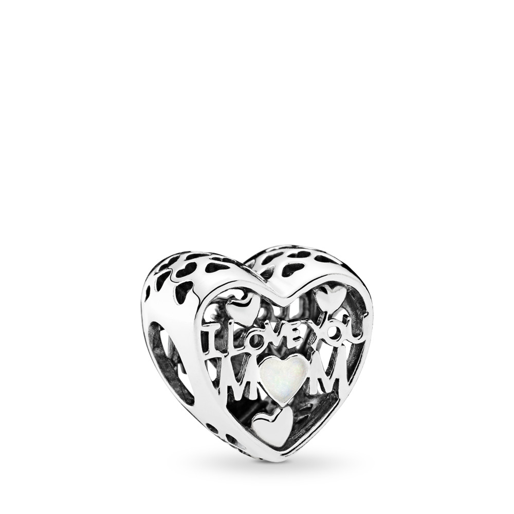 Love for Mother, Silver Enamel, Sterling silver, Enamel, White - PANDORA - #792067EN23