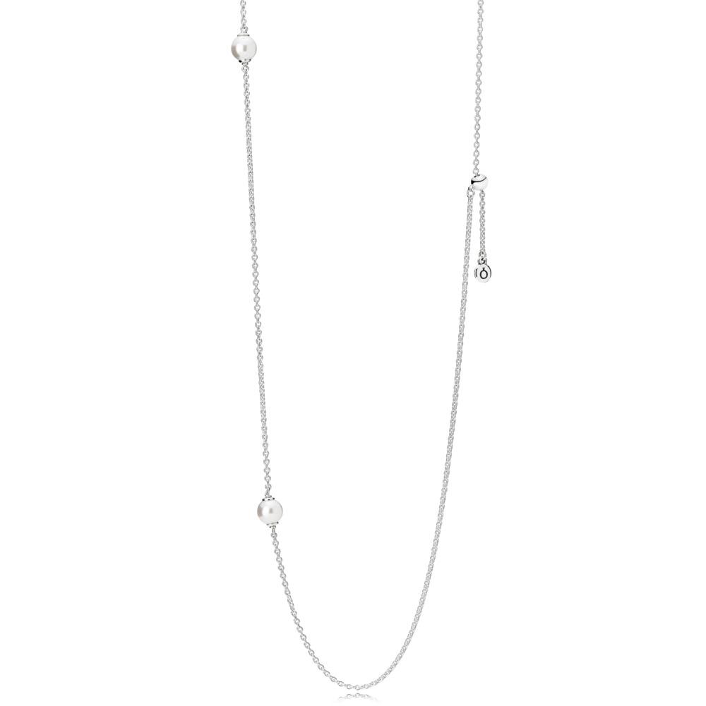 Gouttelettes délicates lumineuses, perles de cristal blanches, Argent sterling, Silicone, Blanc, 68 - PANDORA - #590539WCP