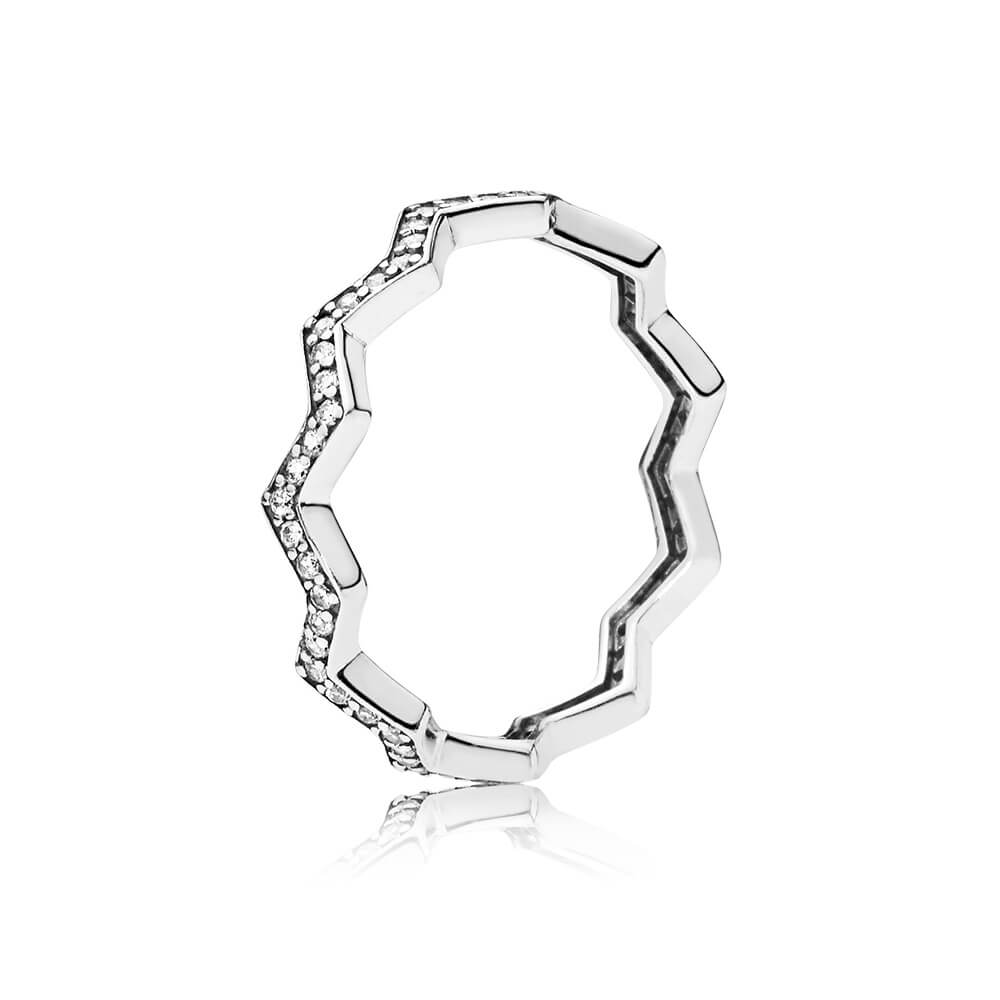 Shimmering Zigzag Ring, Clear CZ