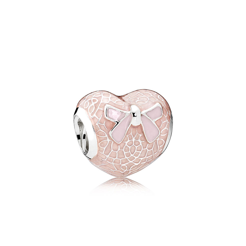 Pink Bow & Lace Heart, Transparent Misty Rose & Soft Pink Enamel