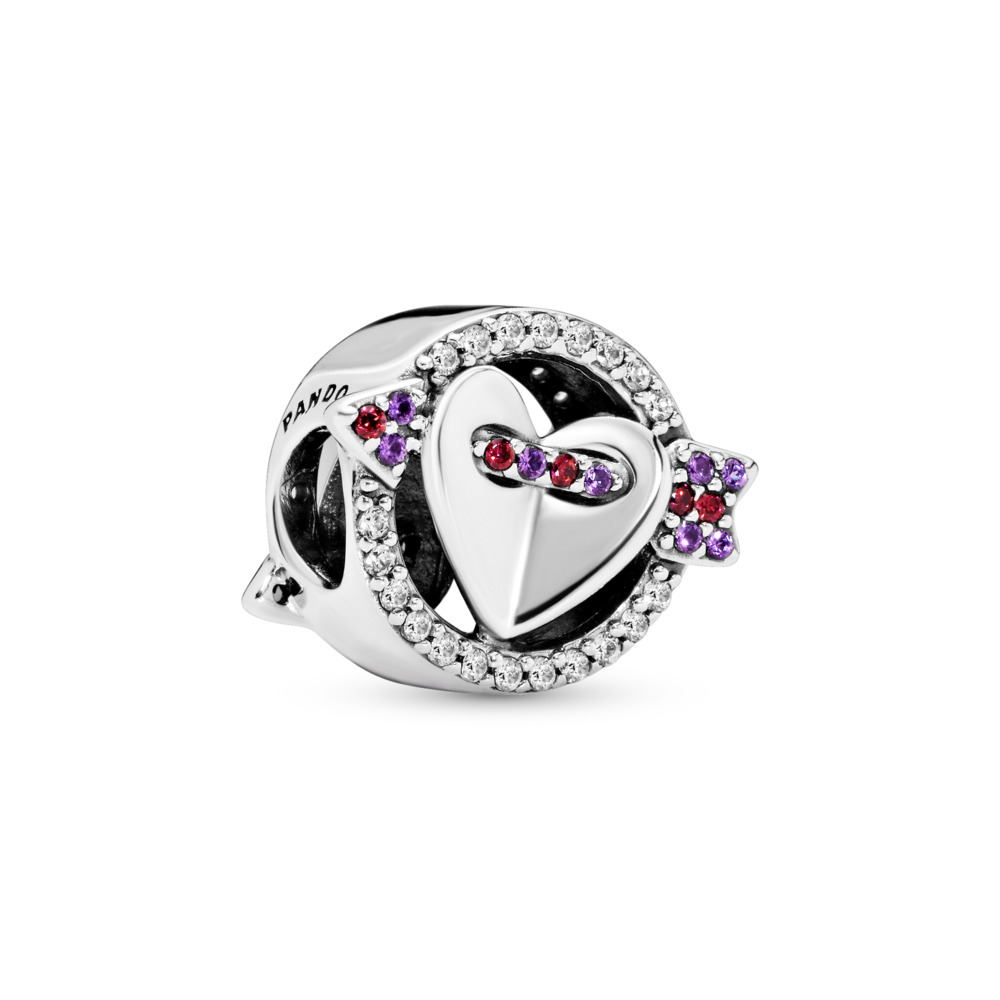 Sparkling Arrow & Heart Charm, Sterling silver, Mixed stones - PANDORA - #797827CZMX