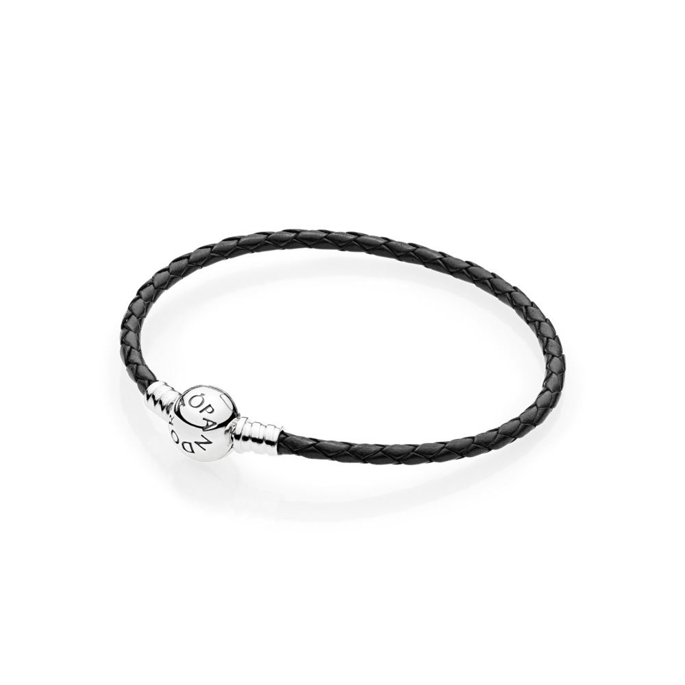 Black Braided Leather Charm Bracelet, Sterling silver, Leather, Black - PANDORA - #590745CBK-S