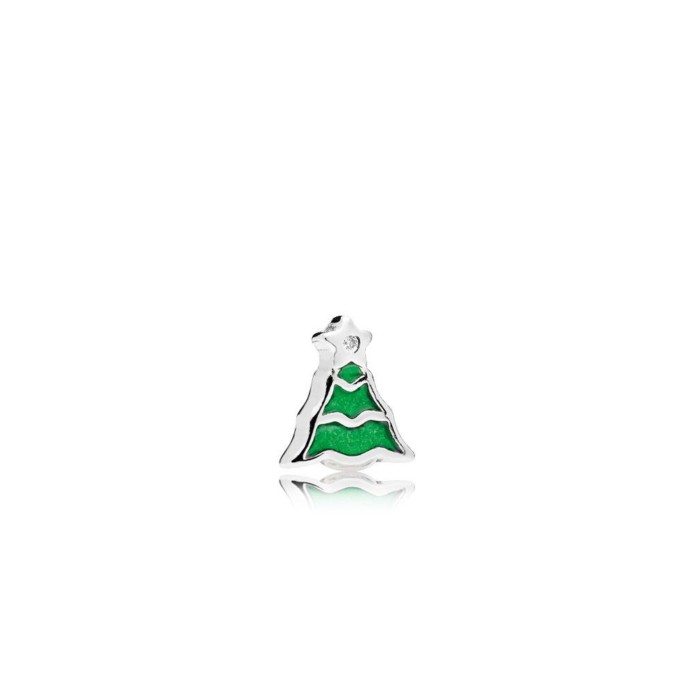 Mini Sapin de Noël, émail vert et cz incolore