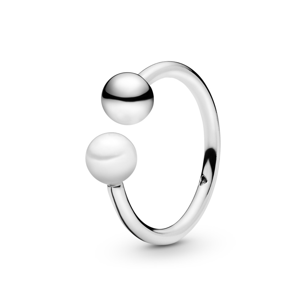 Contemporary Pearl Ring, Sterling silver, White, Freshwater cultured pearl - PANDORA - #197573P