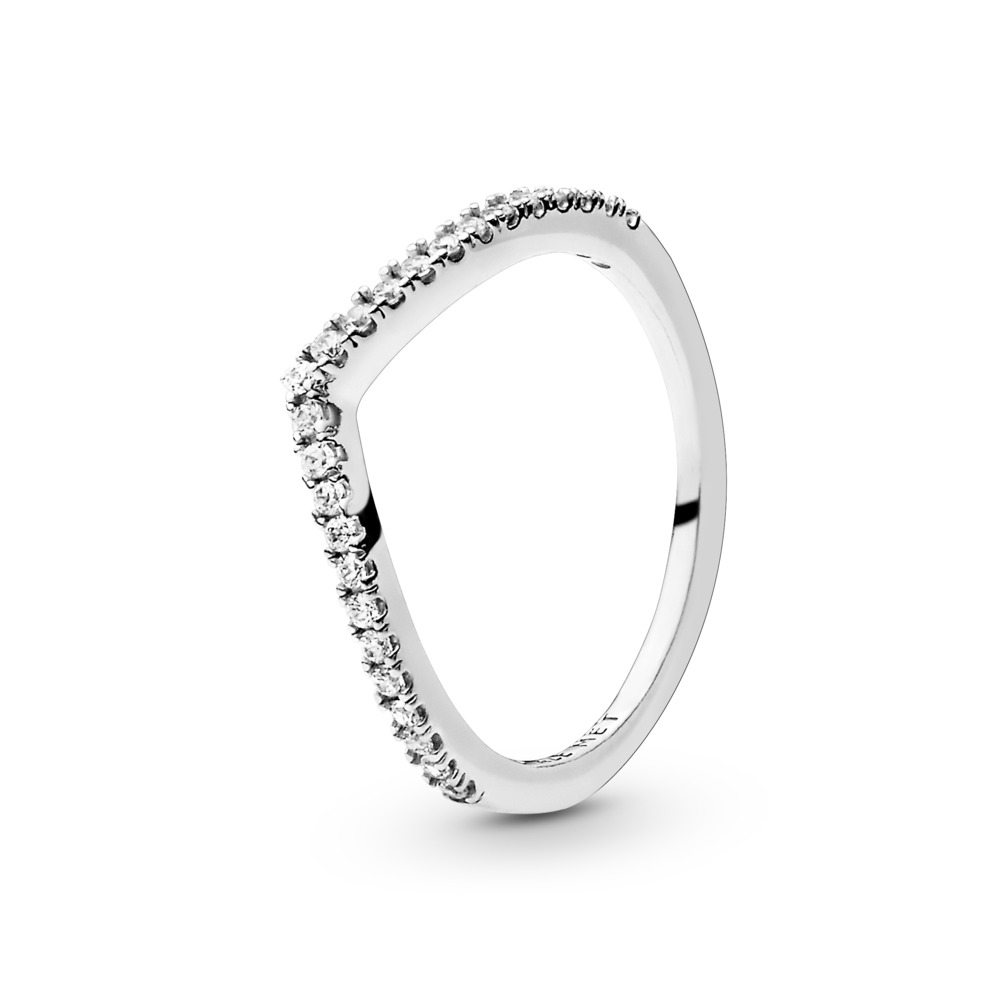 Sparkling Wishbone Ring, Sterling silver, Cubic Zirconia - PANDORA - #196316CZ