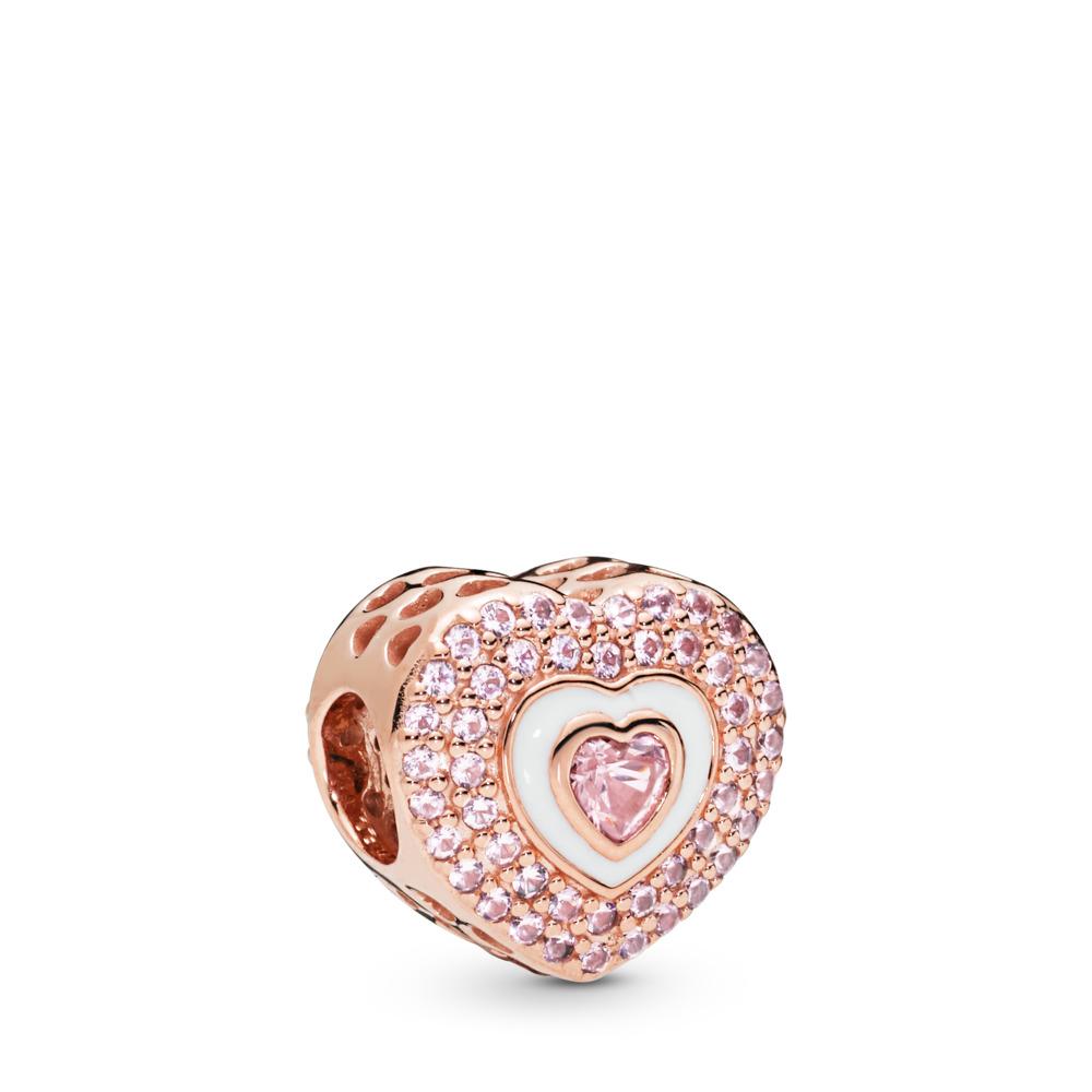 Charm Cœur à cœur, PANDORA ROSE, émail, Rose, Cristal - PANDORA - #788097NPR