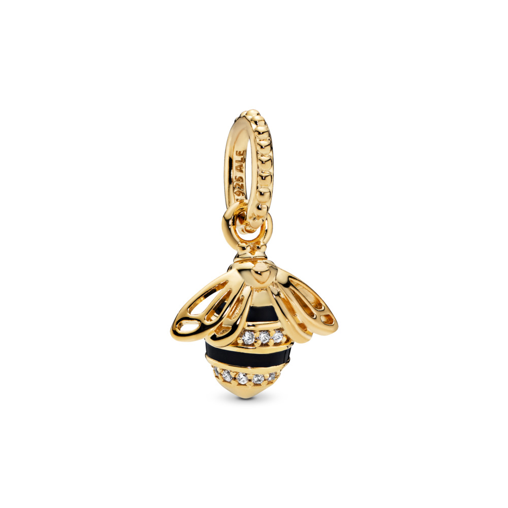 Queen Bee Pendant, PANDORA Shine™, Black Enamel & Clear CZ, 18ct gold-plated sterling silver, Enamel, Black, Cubic Zirconia - PANDORA - #367075EN16