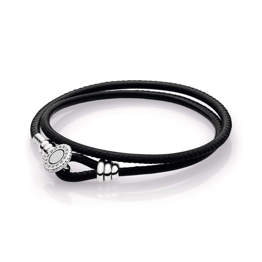 Black Double Leather Bracelet, Clear CZ