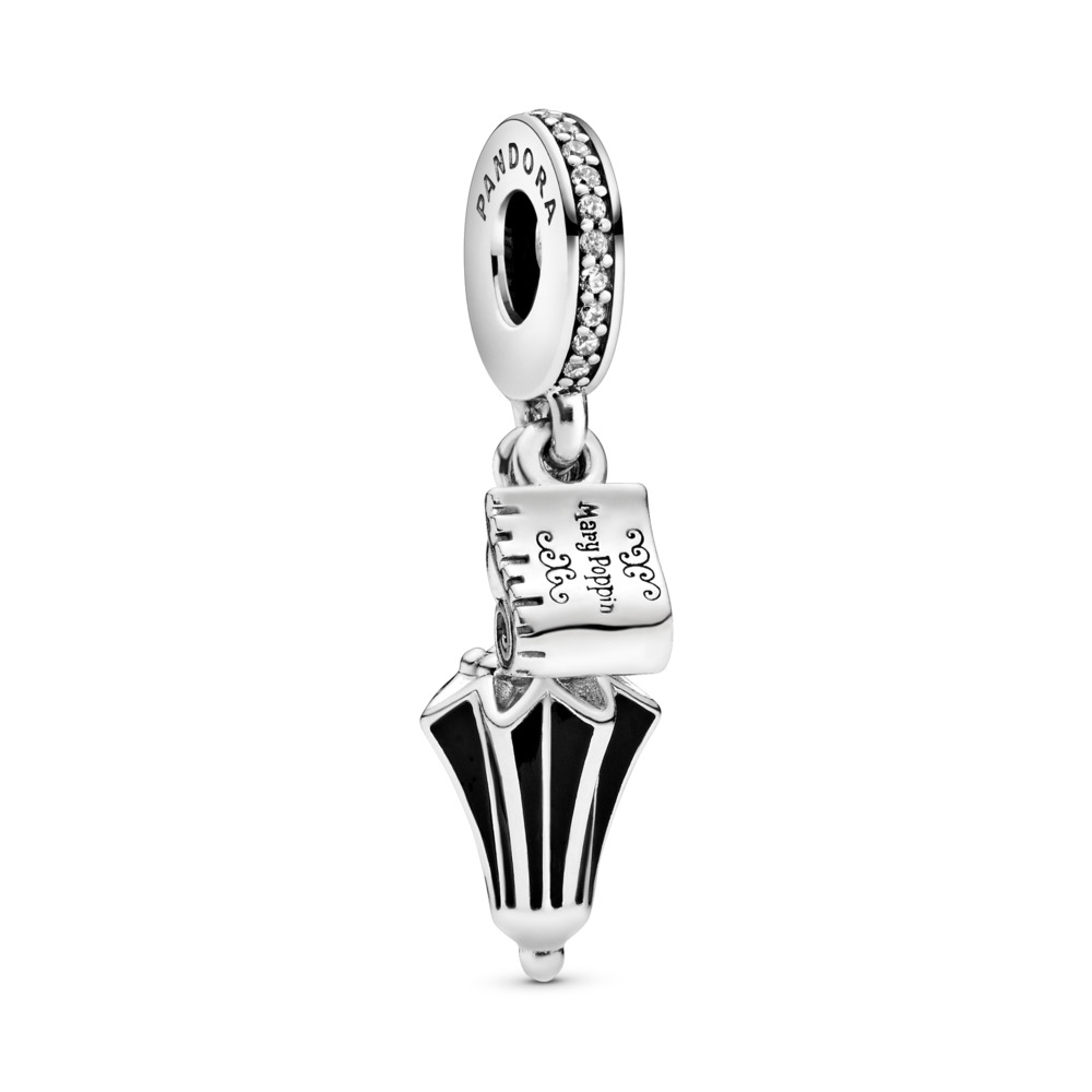 Disney, Mary Poppins Umbrella Dangle Charm, Sterling silver, Enamel, Black, Cubic Zirconia - PANDORA - #797507CZ