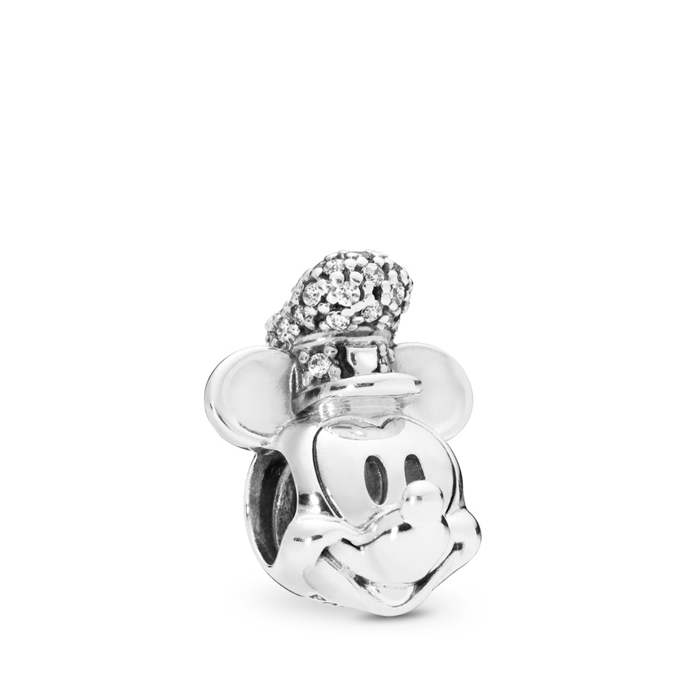 1878c35e1 Disney, Shimmering Steamboat Willie Portrait Charm, Sterling silver, Cubic  Zirconia - PANDORA -