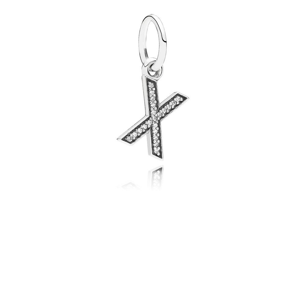 Letter X, Clear CZ, Sterling silver, Cubic Zirconia - PANDORA - #791336CZ