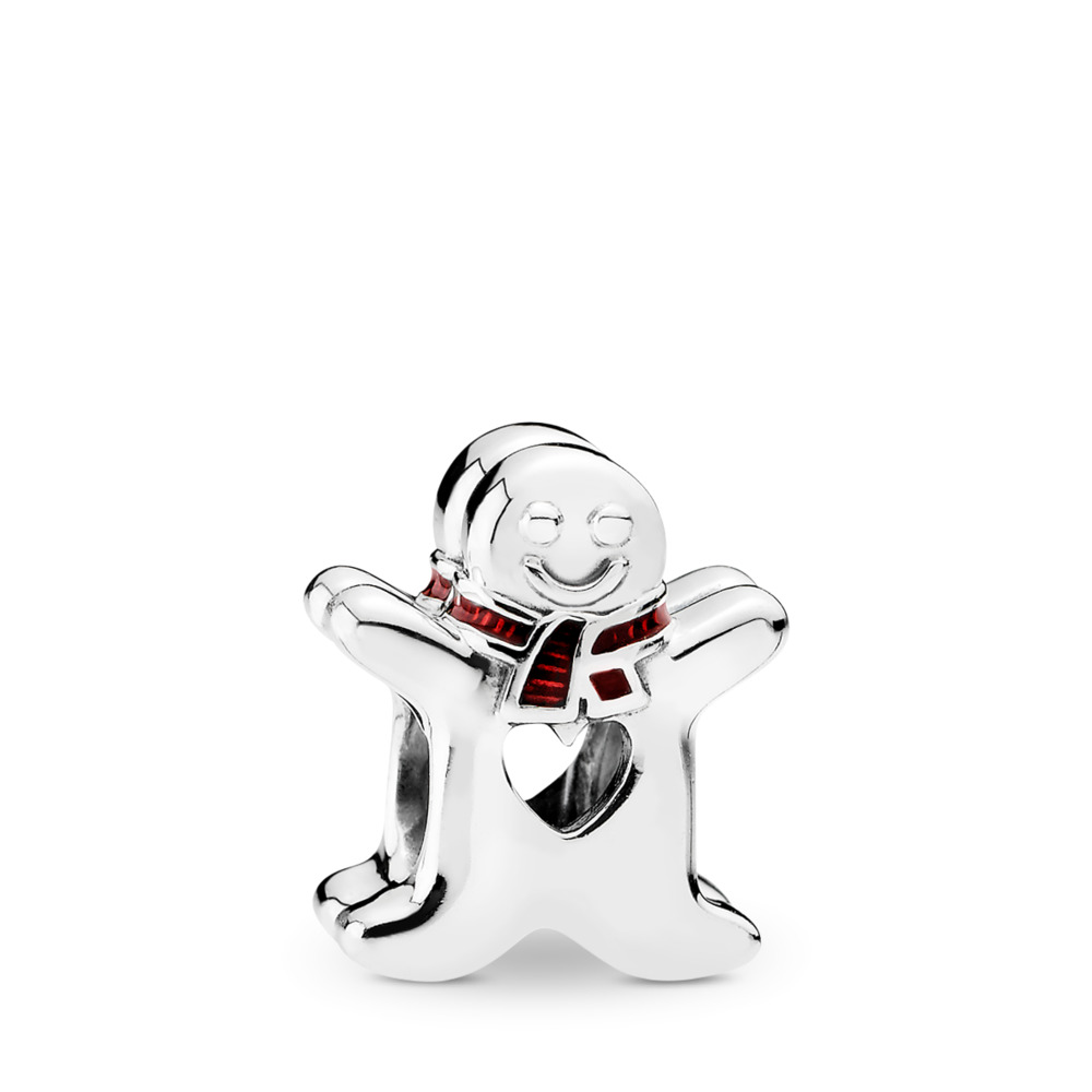 Sweet Gingerbread Man, Translucent Red Enamel, Sterling silver, Enamel, Red - PANDORA - #792002EN07