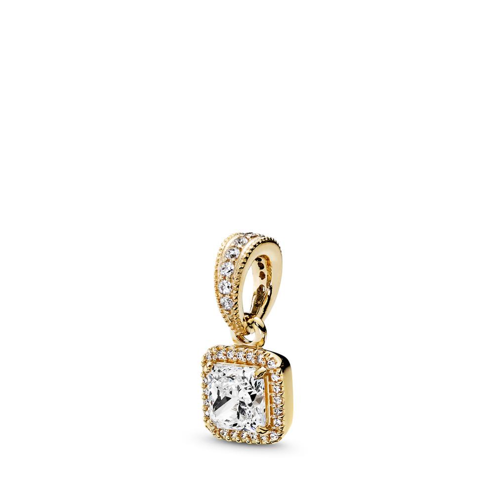 Timeless Elegance, 14K Gold & Clear CZ, Yellow Gold 14 k, Cubic Zirconia - PANDORA - #350180CZ