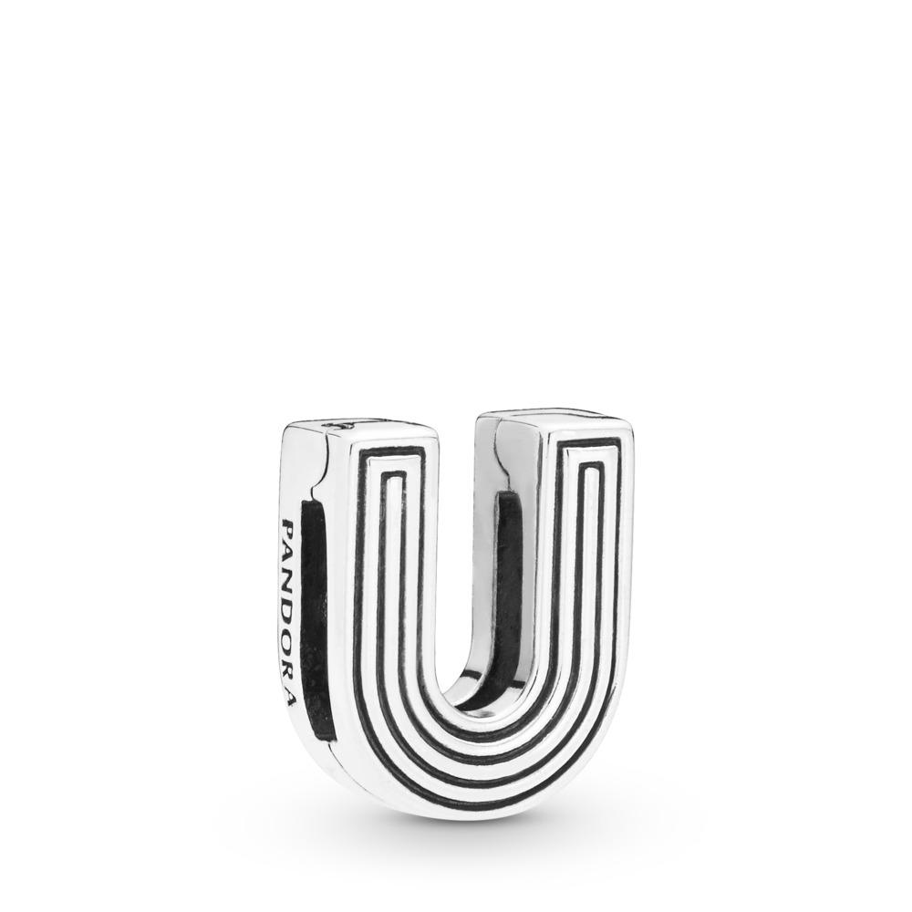 Pandora Reflexions™ Letter U Charm, Sterling silver, Silicone - PANDORA - #798217
