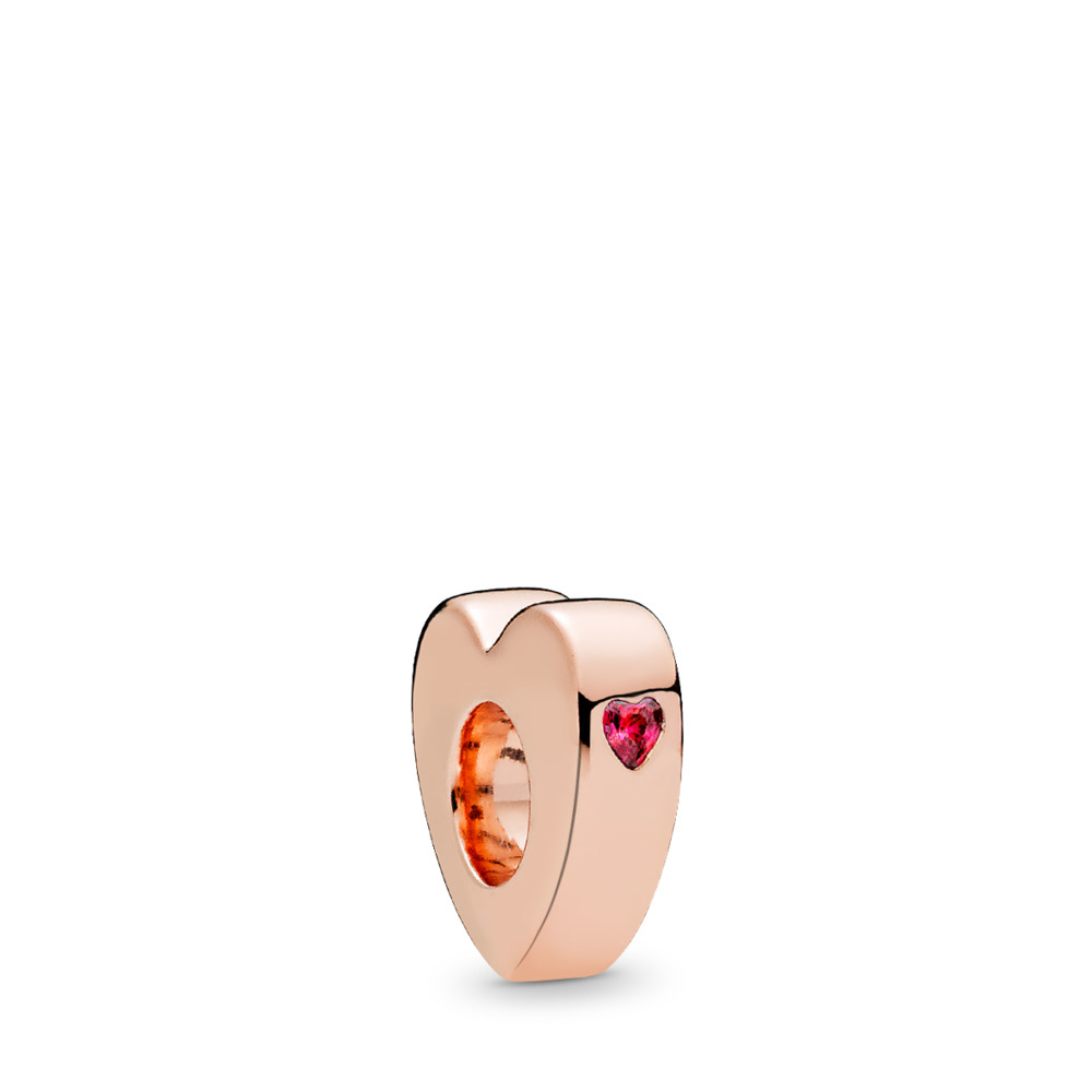 Two Hearts Spacer, PANDORA Rose™ & Red CZ, PANDORA Rose, Red, Cubic Zirconia - PANDORA - #786559CZR