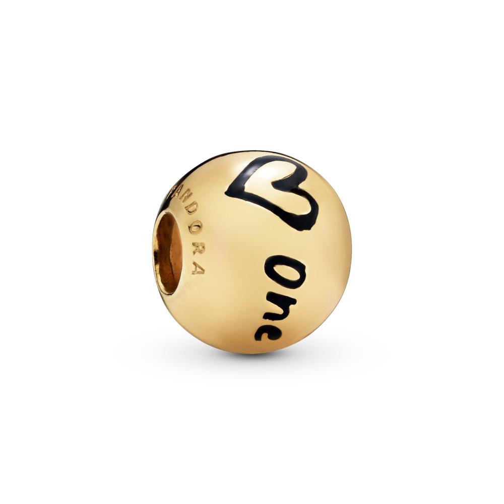 True Uniqueness Charm, 18ct gold-plated sterling silver, Enamel, Black - PANDORA - #767775EN16