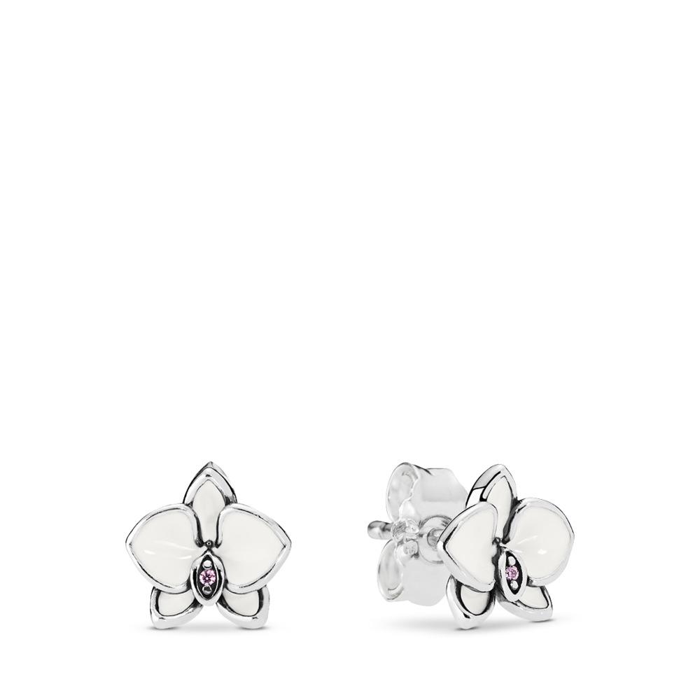 Orchid, White Enamel & Clear CZ, Sterling silver, Enamel, Pink, Cubic Zirconia - PANDORA - #290749EN12