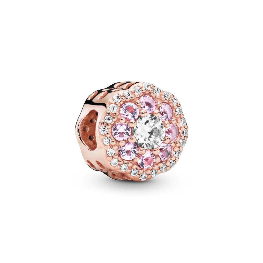 Pink Sparkle Flower Charm, PANDORA Rose, Pink, Mixed stones - PANDORA - #787851NPM