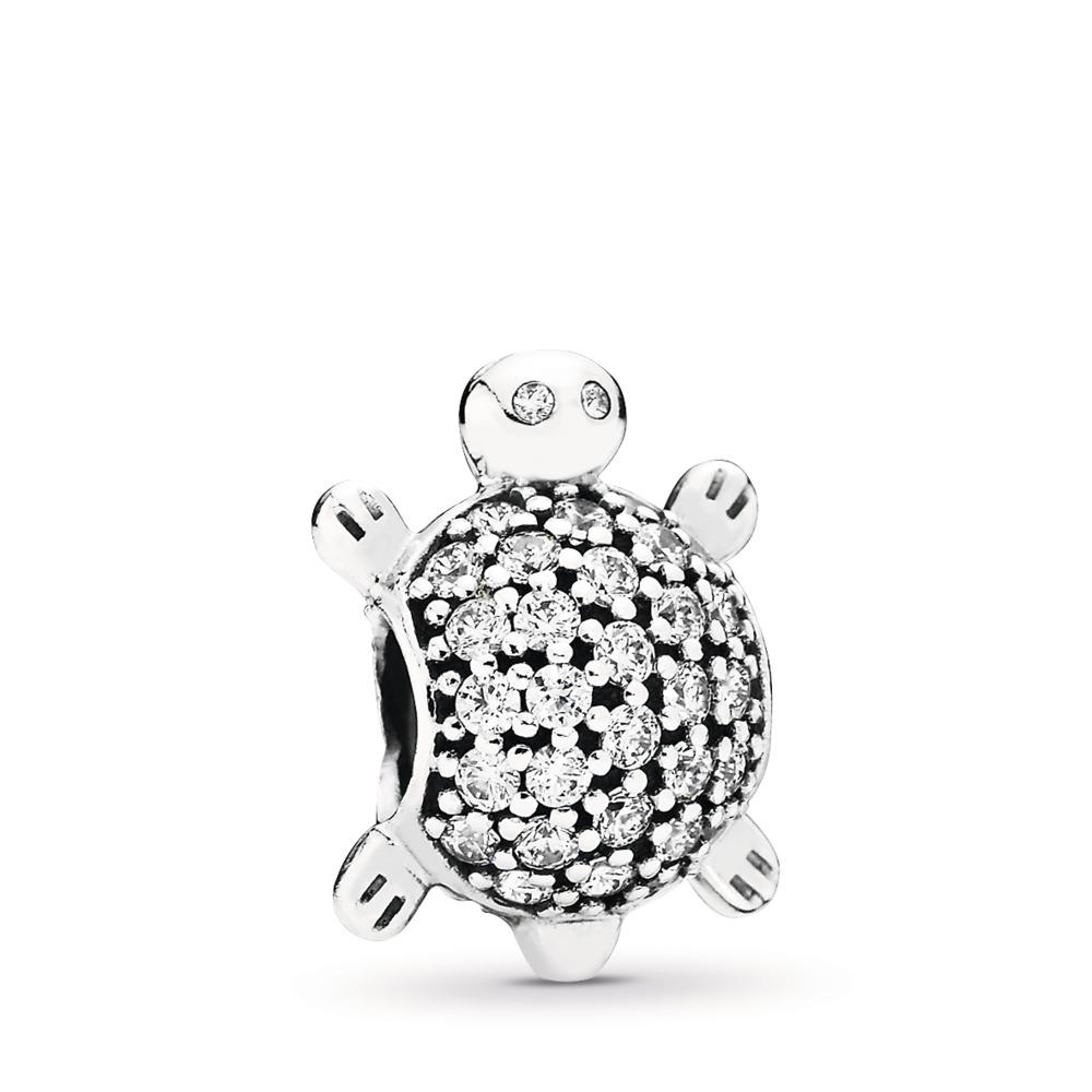 Sea Turtle, Clear CZ, Sterling silver, Cubic Zirconia - PANDORA - #791538CZ