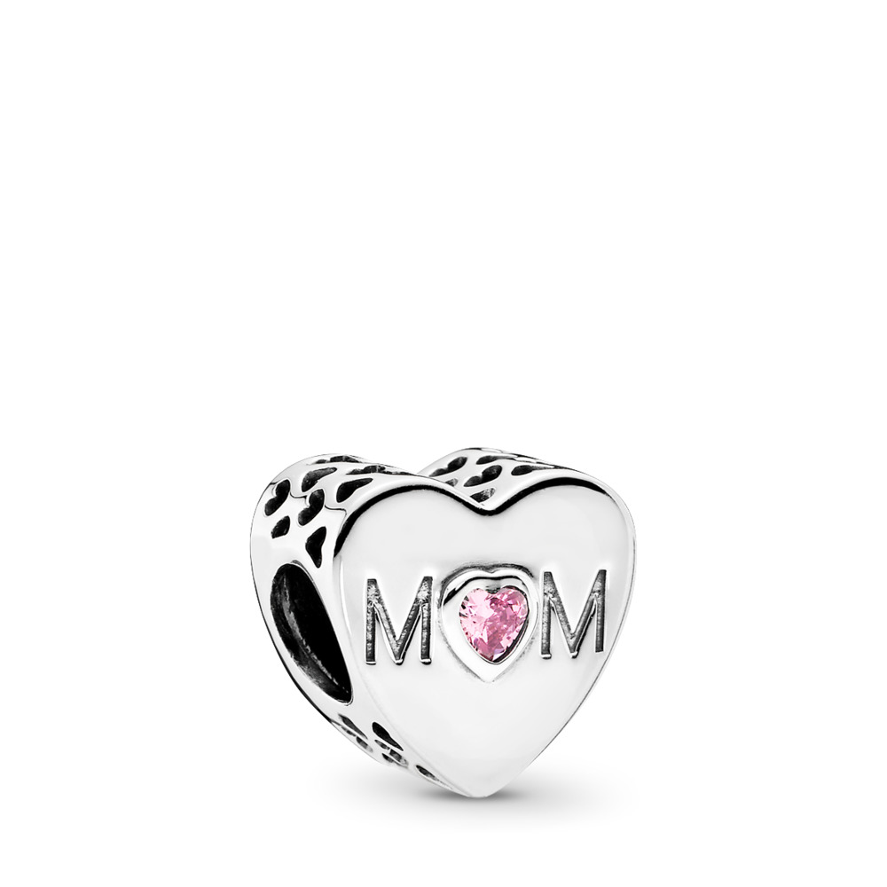 Mother Heart, Pink CZ, Sterling silver, Cubic Zirconia - PANDORA - #791881PCZ