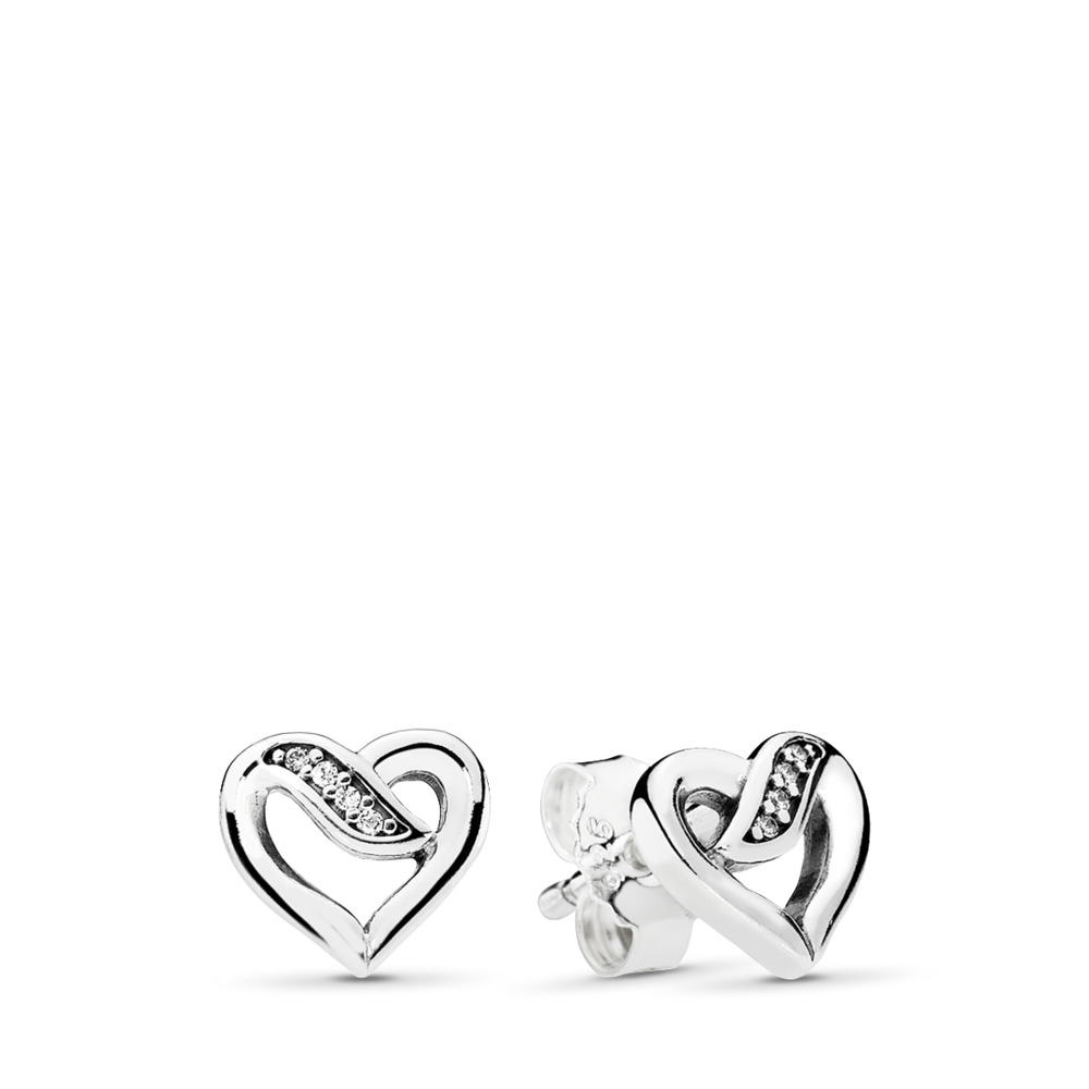 cf359f6ff Dreams of Love Stud Earrings, Clear CZ, Sterling silver, Cubic Zirconia -  PANDORA