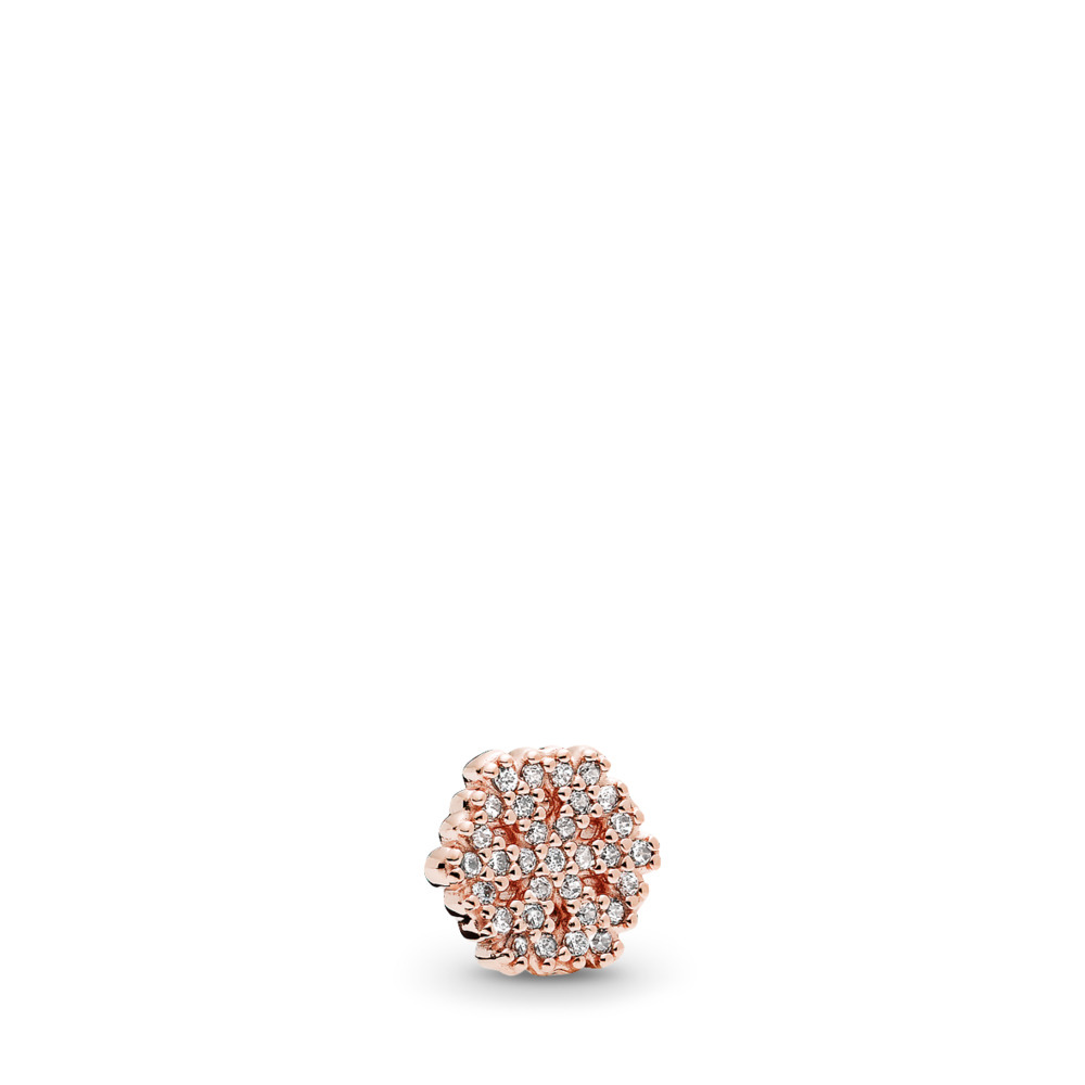 Shimmering Snowflake Petite Charm, PANDORA Rose™ & Clear CZ, PANDORA Rose, Cubic Zirconia - PANDORA - #782166CZ