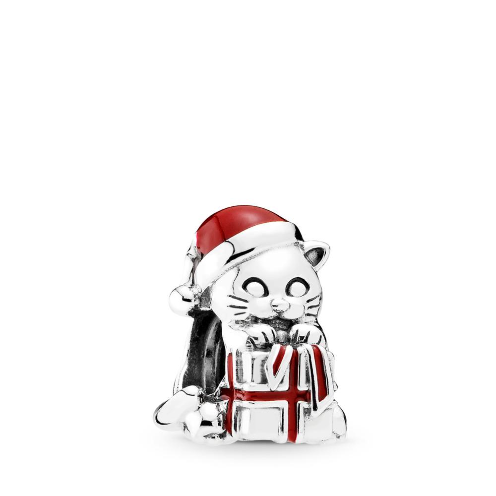 Chaton de Noël, émail rouge baie, Argent sterling, émail, Rouge, Aucune pierre - PANDORA - #792007EN39