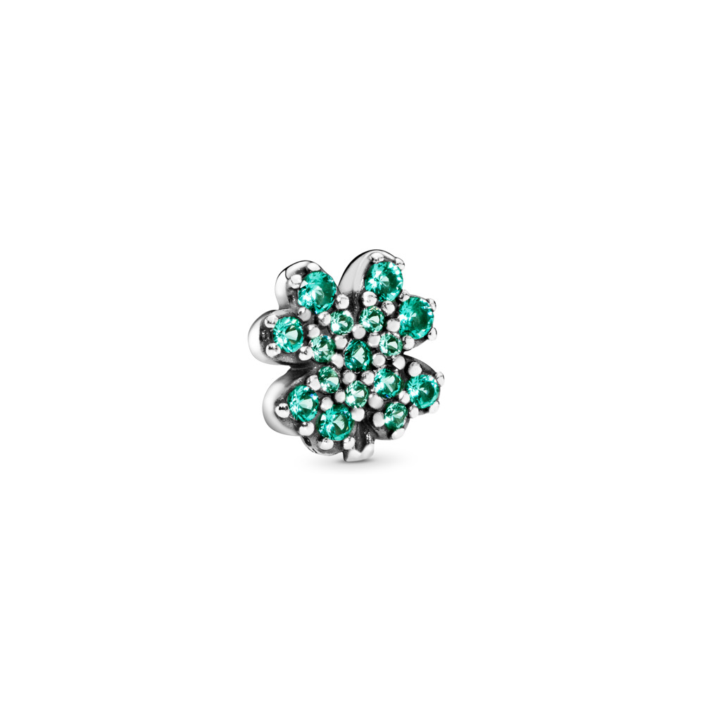 Radiant Green Clover Petite Charm, Sterling silver, Crystal - PANDORA - #797867NRG