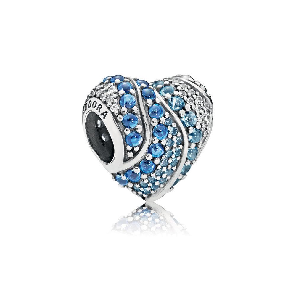 Aqua Heart Charm, Aqua & London Blue Crystals & Clear CZ