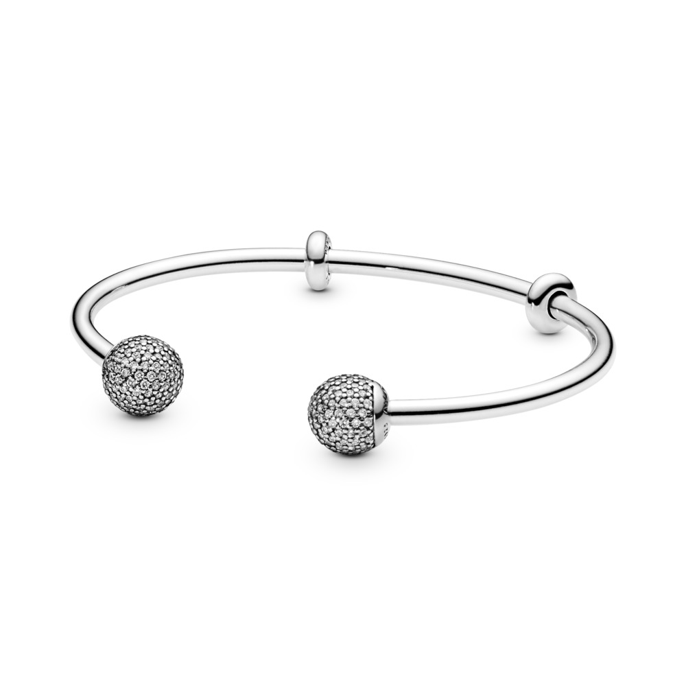 Open Bangle, Clear CZ, Sterling silver, Silicone, Cubic Zirconia - PANDORA - #596438CZ