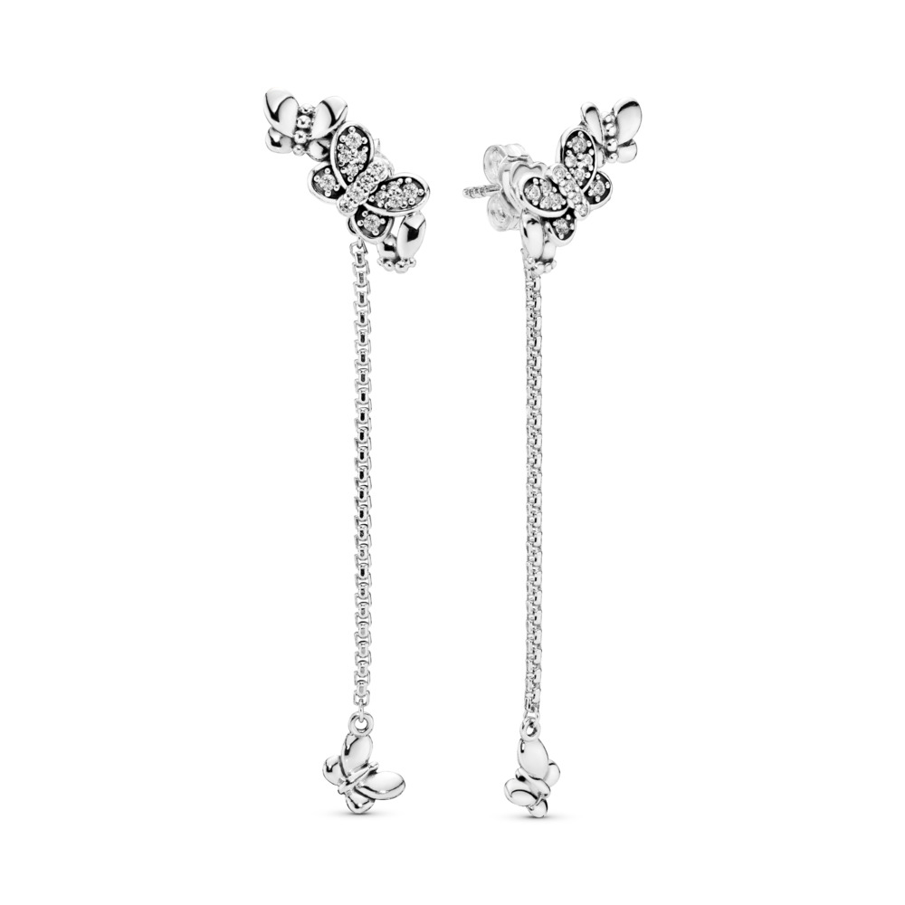 Limited Edition Bedazzling Butterflies Drop Earrings, Sterling silver, Cubic Zirconia - PANDORA - #297964CZ