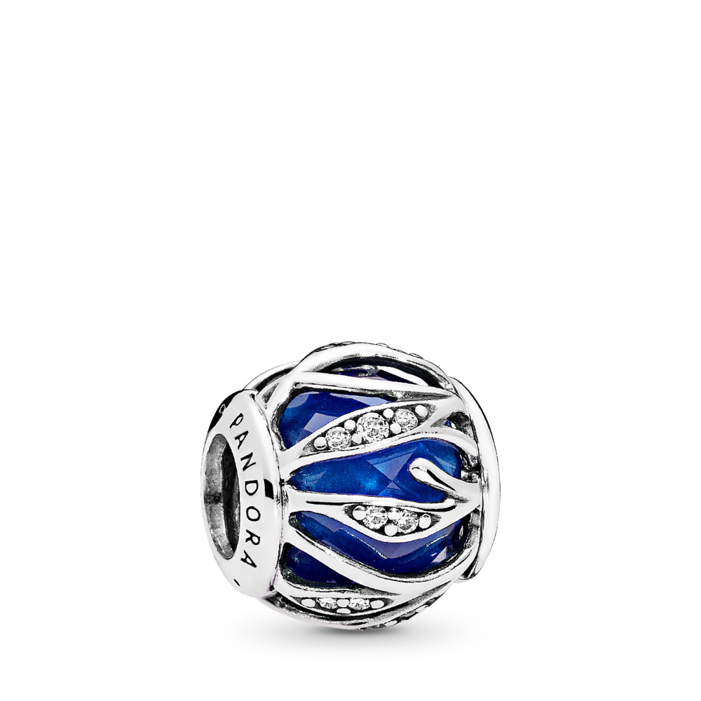 Nature's Radiance Charm, Royal Blue Crystal & Clear CZ, Sterling silver, Blue, Mixed stones - PANDORA - #791969NCB