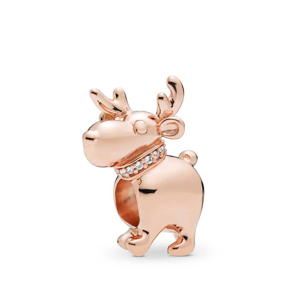 Happy Reindeer Charm, PANDORA Rose™, PANDORA Rose, Cubic Zirconia - PANDORA - #787514CZ