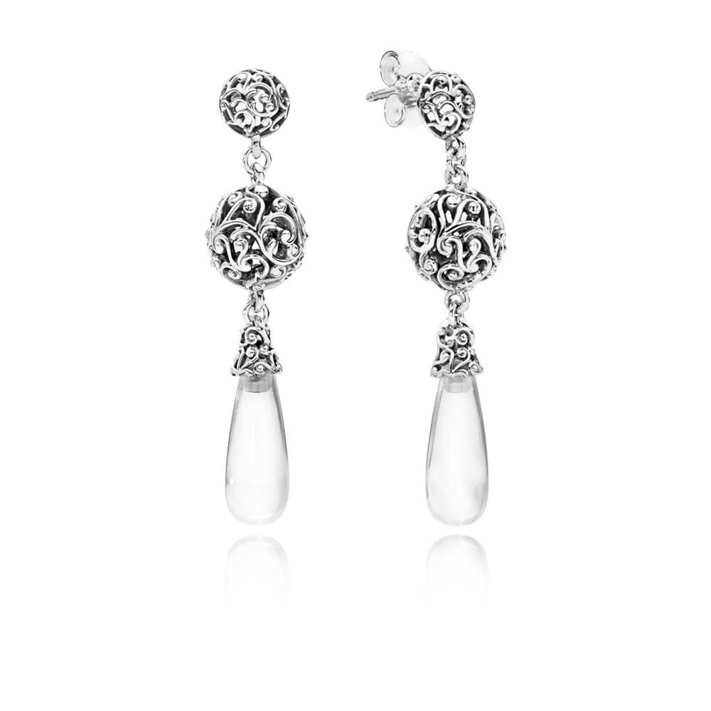 Regal Droplets Earrings, Clear CZ