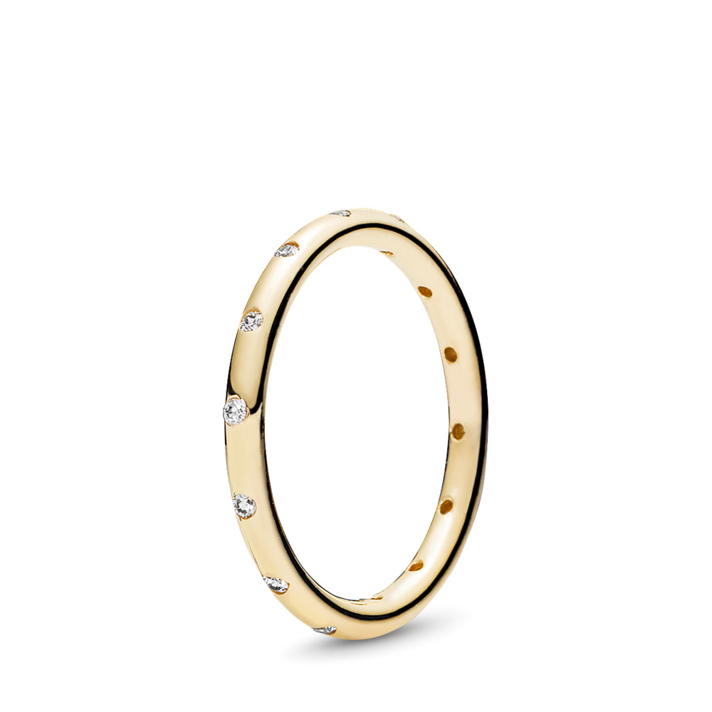 Droplets Stackable Ring, Polished 14K Gold & CZ, Yellow Gold 14 k, Cubic Zirconia - PANDORA - #150178CZ