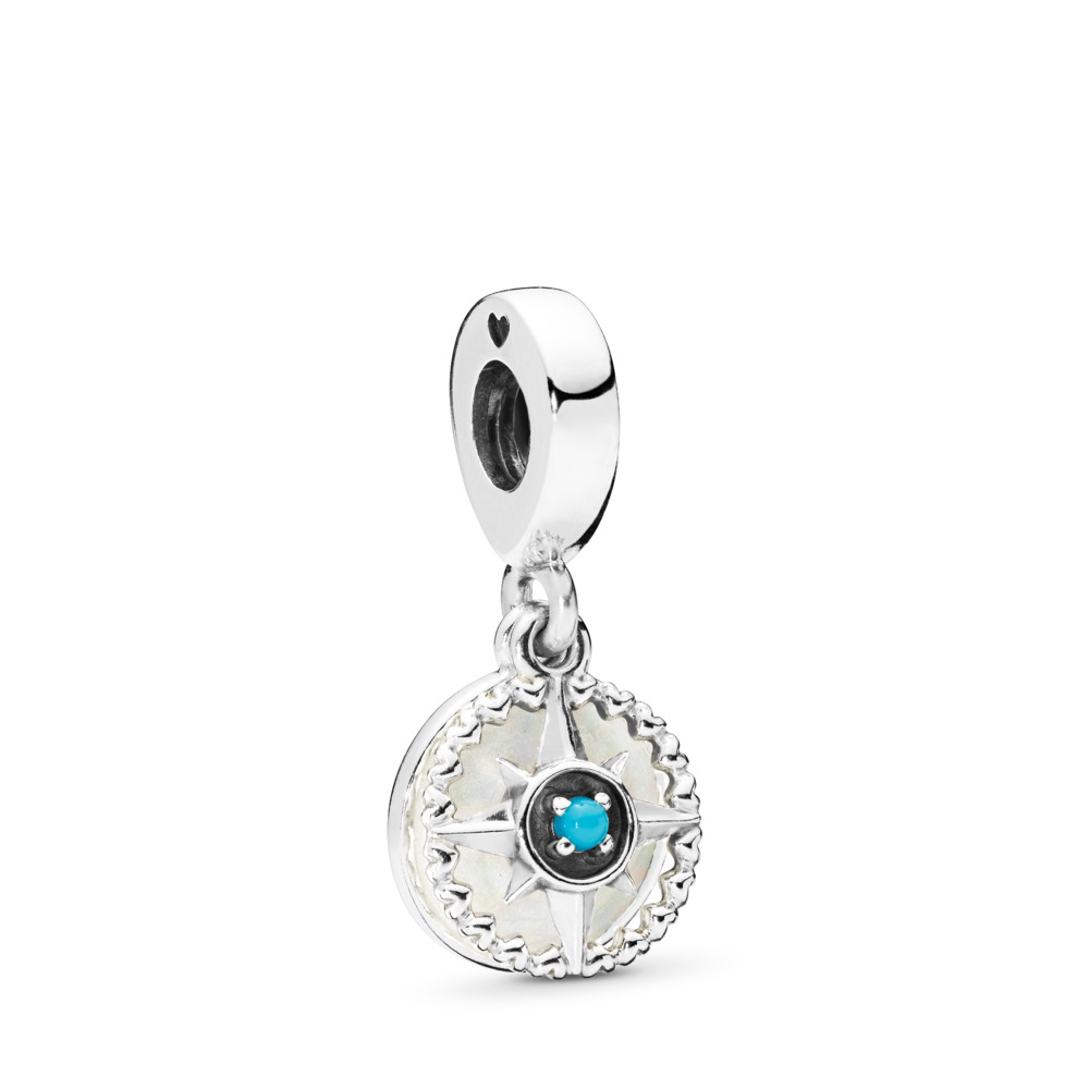 Compass Rose Dangle Charm, Silver Enamel & Cyan Blue Crystal, Sterling silver, Enamel, Blue, Crystal - PANDORA - #797196EN23