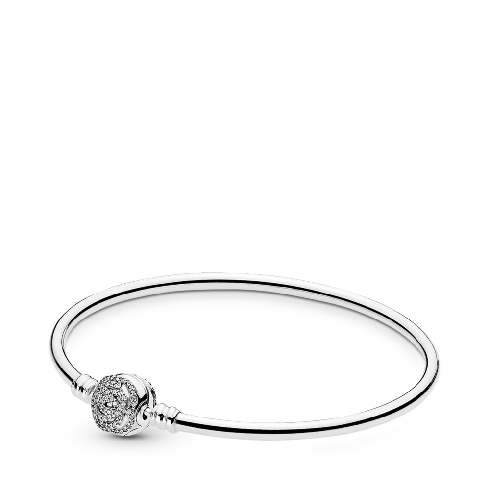 Disney, Beauty & the Beast Charm Bangle, Sterling silver, Cubic Zirconia - PANDORA - #590748CZ