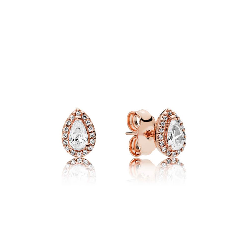 Radiant Teardrops Earrings, PANDORA Rose™ & Clear CZ