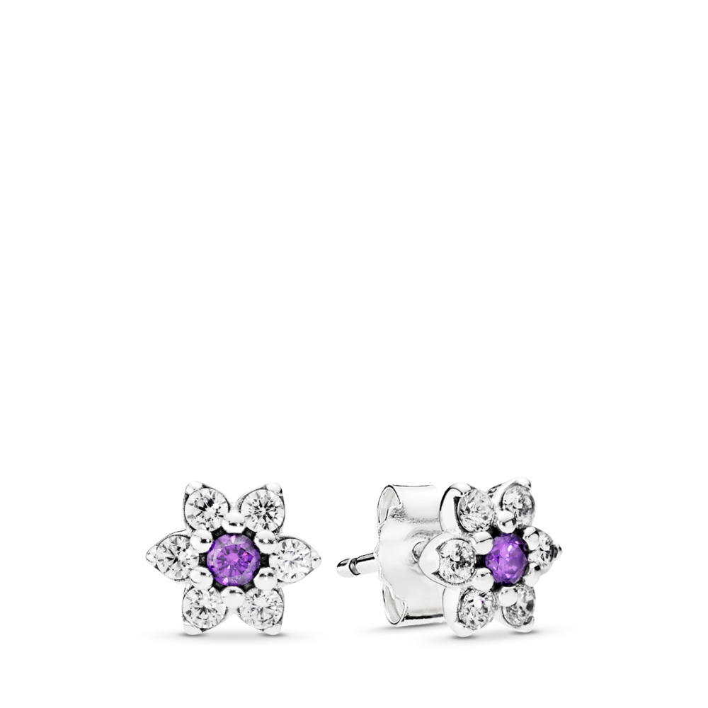 997262d08 Forget Me Not, Purple & Clear CZ, Sterling silver, Purple, Cubic Zirconia