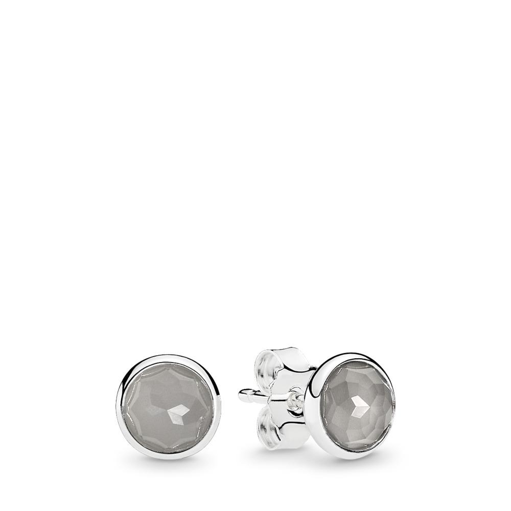 June Droplets, Grey Moonstone, Sterling silver, Grey, Moonstone - PANDORA - #290738MSG