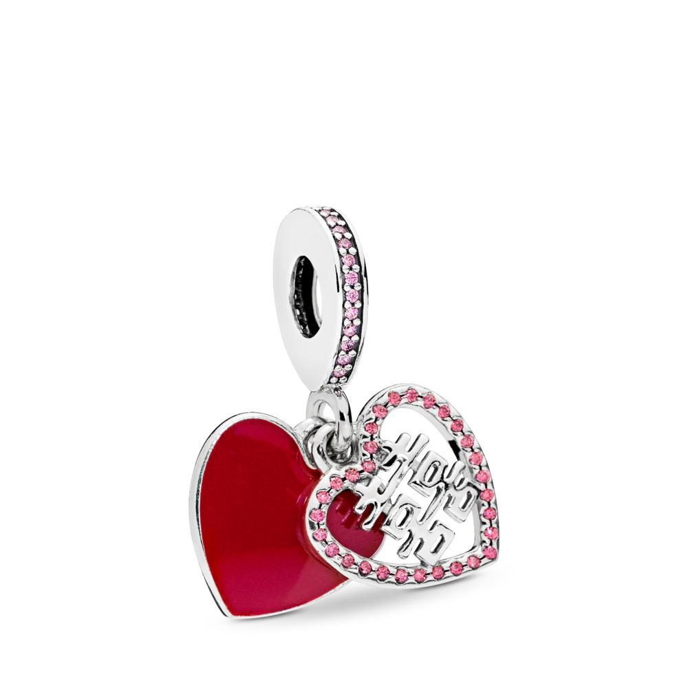 Charm pendentif Double cœur heureux, émail rouge cramoisi et cz multicolore, Argent sterling, émail, Rose, Zircon cubique - PANDORA - #796590EN151