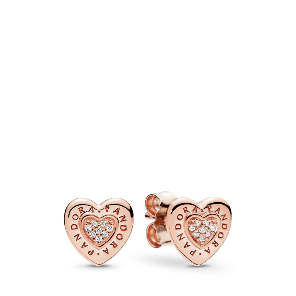 PANDORA Signature Heart Stud Earrings, PANDORA Rose™ & Clear CZ, PANDORA Rose, Cubic Zirconia - PANDORA - #287382CZ