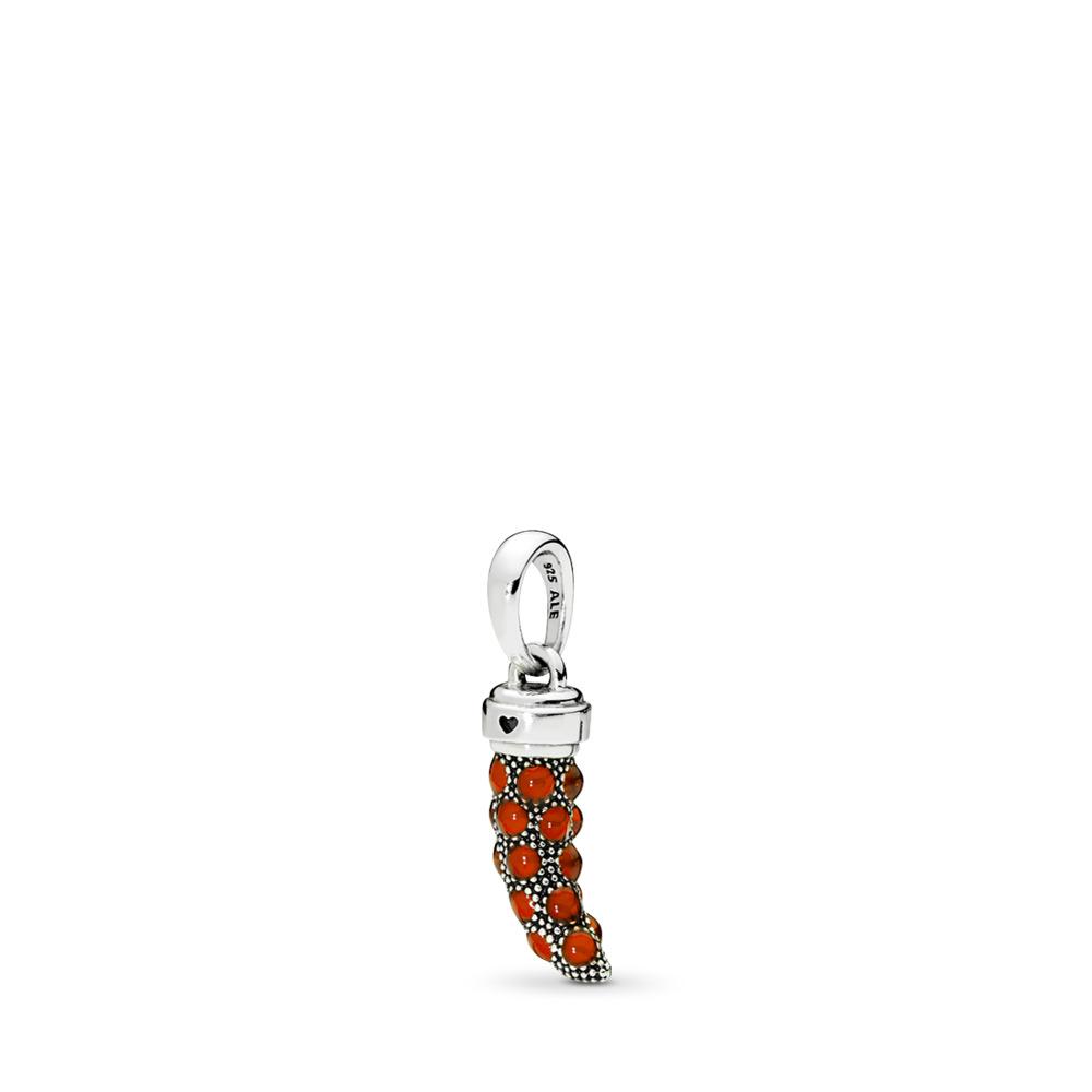 Limited Edition Italian Horn Amulet Pendant, Red Enamel, Sterling silver, Enamel, Red - PANDORA - #397203EN07